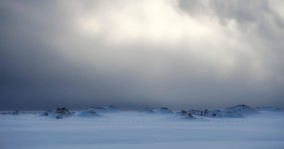 Paesaggio islandese in inverno